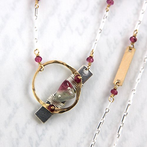Watermelon Tourmaline Necklace, Bicolor Tourmaline Necklace, Tourmaline Cabochon Necklace - Sterling Silver and Gold Filled Mixed Metals
