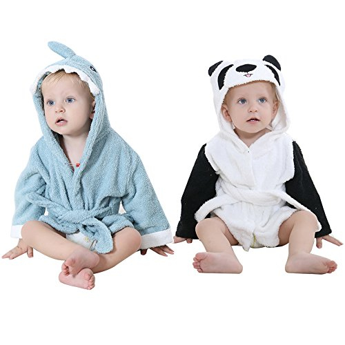 Baby Hooded Towel Robes Shark and Panda 2-for-1 (Set of 2) - Premium Soft Terry Cotton Protects Delicate Skin w/ free Luvli Baby Gift Bag