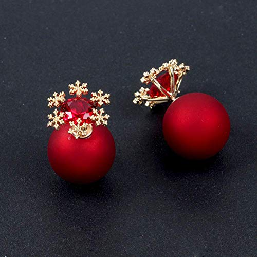 (Yevison Earrings 925 Silver Needle Double-sided Frosted Snowflake Red Pearl Earrings)