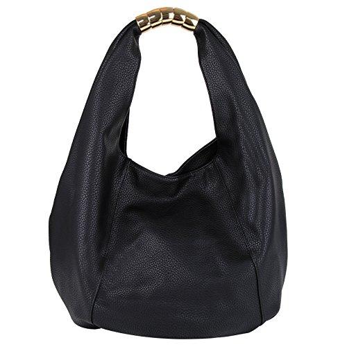 Eva PU Shoulder large amp;Evan Handle Bag bag Leather Top capacity Women Black qZqr1H