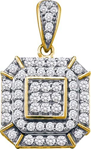 - Aienid 10Kt Yellow Gold 0.48ct Diamond Pendant Necklace For Ladies