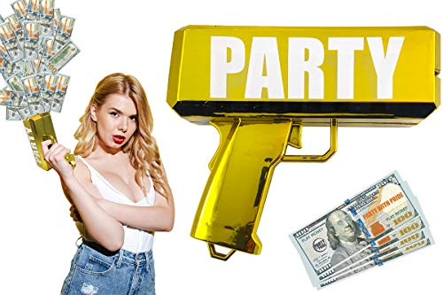 Party With Pride Money Gun, Real Electroplated Chrome Gold, Rainmaker Handheld Cash Gun, Fake Bill Dispenser, Money Shooter (Metallic Gold)