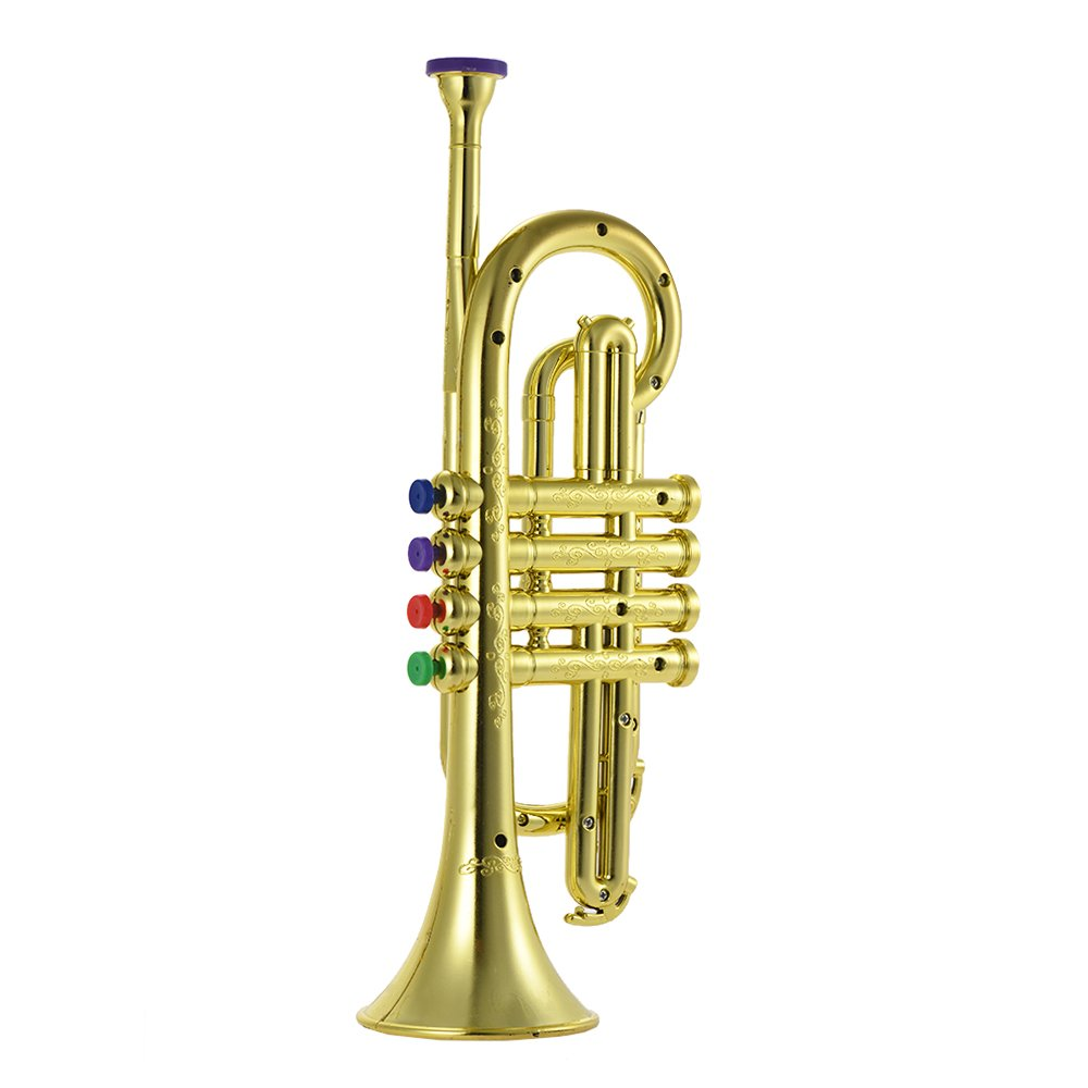 ammoon Trumpet Toy with 4 Colored Keys Musical Instrument Gift for Kids Children
