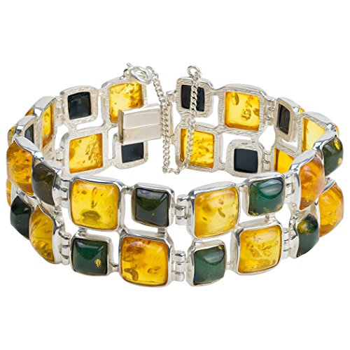 Ian and Valeri Co. Multicolor Amber Sterling Silver Double Square Bracelet -