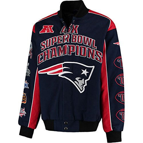 New England Patriots 4 Time Super Bowl Champs Triumph Twill Commemorative Jacket - 2XL by G-lll Sports