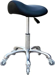 FRNIAMC Professional Saddle Stool with Wheels Ergonomic Swivel Rolling Height Adjustable for Clinic Dentist Beauty Salon Tattoo Home Office (Black)