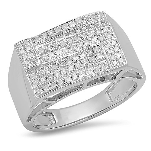 0.50 Carat (ctw) Sterling Silver Round Diamond Men's Micro Pave Wedding Band 1/2 CT (Size