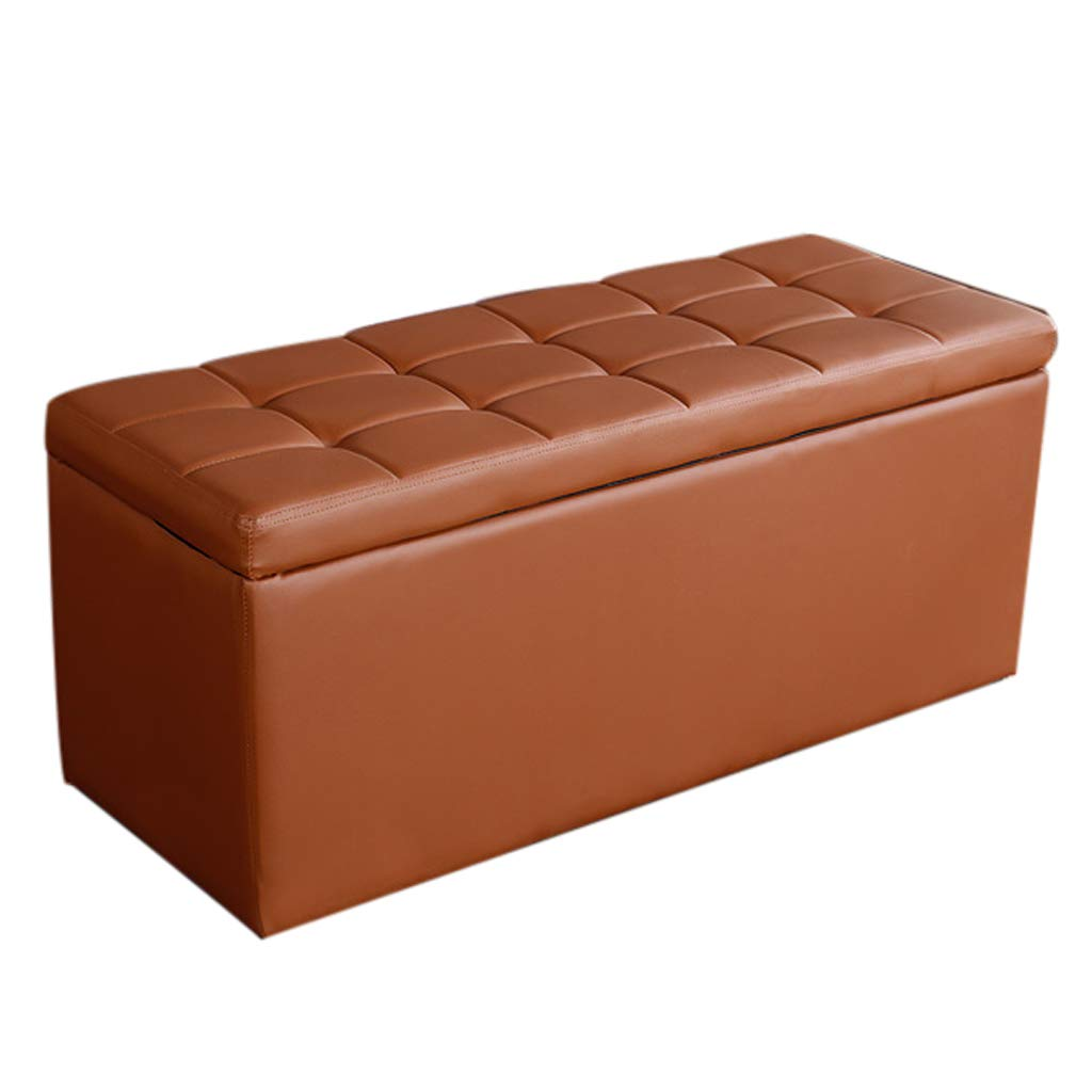 Brown L-60CM Storage Stool - Home Multi-Function Long Storage Stool A Variety of colors Can Choose to Sit on The Sofa Leather Bench Long Footstool MENA UK (color   RED, Size   L-60CM)
