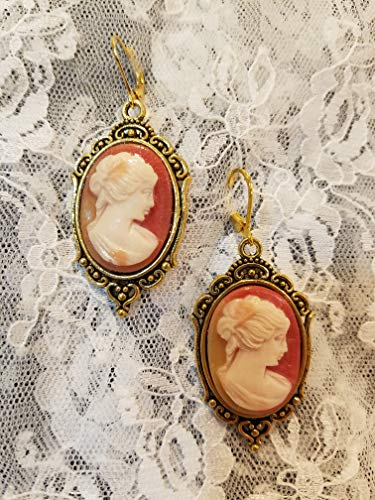 - Carnelian Lady Cameo Earrings with Goldplate Lever-back Closures