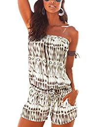 Sumtory Women's Strapless Printed Beach Short rompers...