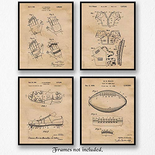 Original Football Patent Art Poster Prints - Set of 4 (Four Photos) 8x10 Unframed - Great Vintage Wall Art Decor Gift for Home, Office, Garage, Man Cave, Gym, Student, Teacher, Coach, Pigskin Fan ()