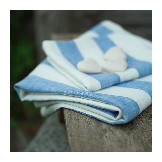 """LinenMe Philippe Bath Towel, 26"""" x 51"""", Off White/Blue - This classic linen towel of wide blue stripes design would make a great addition to any bathroom. The towel is made from 100Percent linen of huckaback weaving. Plain seam around, prewashed for extra softness, special loop for convenient hanging Color: blue, made from 100Percent European linen, available in 5 colors Size: 26X 51"""", bath towel has a loop - bathroom-linens, bathroom, bath-towels - 51fau8A1joL. SS570  -"""