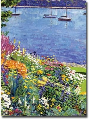 Sailboat Bay Garden by David Lloyd Glover, 18x24-Inch Canvas Wall Art (David Lloyd Glover Garden)