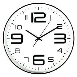 Bien-Zs Non-Ticking Silent Quartz Wall Clock with Big 3D Number Modern Design Quiet Sweep Movement Indoor Decorative for Living Room Kitchen Wall Clocks Battery Operated 10-Inch White