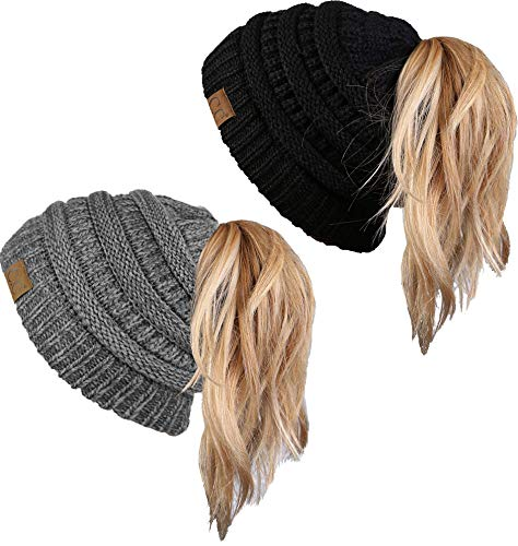 Graphite Tail - BT-6020a-2-06-6221 Beanie Tail Bundle - Black & Graphite Grey (2 Pack)