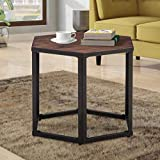 Multi Color Wood Coffee Table End Table Hexagon Modern Leisure Wood Coffee Table with Metal Legs for Living Room Balcony and Office