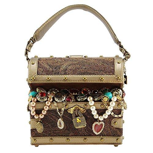 MARY FRANCES X Marks The Spot, Beaded Treasure Chest Top-Handle Bag -