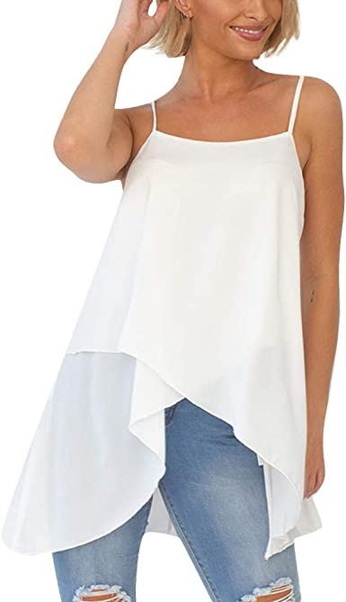 UK Women Summer Loose Plain Cami Vest Ladies Sleeveless Beach Casual Tops Blouse