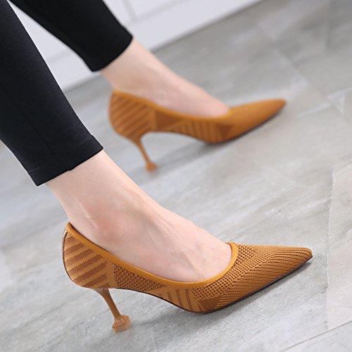 GTVERNH-Nell'Autunno del Nuovo Stile Moda Scarpe da Donna Moda colore Superficiale Solo Scarpe Sexy Sharp Scarpe Scarpe Tacco 7Cm 39 Camel