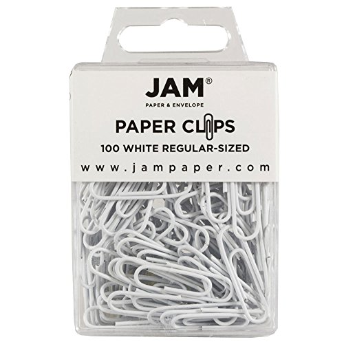 JAM Paper Paper Clips - Regular 1 Inch Paperclips - White - 100 Paper Clips per Pack