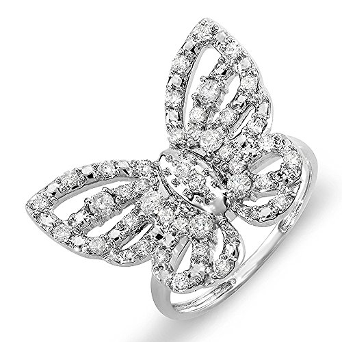 Dazzlingrock Collection 0.70 Carat (ctw) 10k Round Diamond Ladies Butterfly Cocktail Right Hand Ring 3/4 CT, White Gold, Size 9