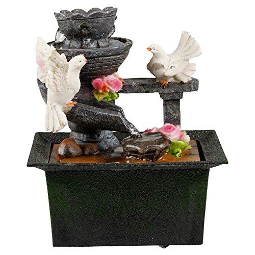 EG Homewares Waterfall Water Fountain Calming Feng Shui Effect Indoor Table Desk Top Feature Doves