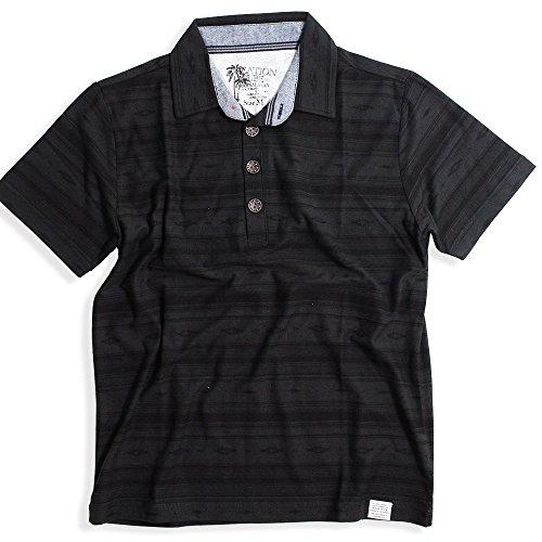 QUINTETTO(クインテット) エスニック ジャガードボーダー 半袖 ポロシャツ メンズ ポロ カジュアル ゴルフ ビジネス 21-8403-217 (M, 51,ブラック(BLACK))