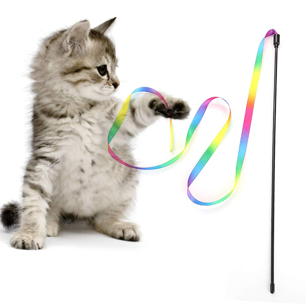 xxiaoTHAWxe Cat Kitty Funny Colorful Strip Teasing Rod Wand Interactive Toys Pet Supplies - Colorful