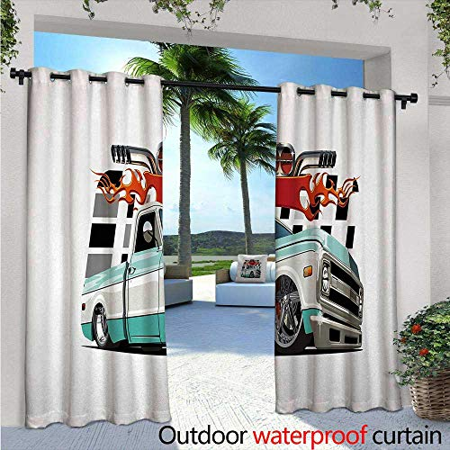 Truck Patio Curtains W84 x L84 Lowrider Pickup with Racing Flag Pattern Background Speeding on The Streets Modified Outdoor Curtain for Patio,Outdoor Patio Curtains Multicolor