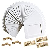Paper Photo Frame 4x6 Kraft Paper Picture Frames 30 PCS DIY Cardboard Photo Frames with Wood Clips and Jute Twine (WHITE)