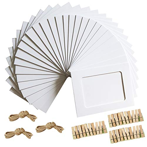 Paper Photo Frame 4x6 Kraft Paper Picture Frames 30 PCS DIY Cardboard Photo Frames with Wood Clips and Jute Twine (WHITE)]()