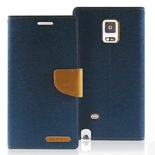 Galaxy Note Edge Case, [Drop Protection] GOOSPERY Canvas Diary [Samsung Galaxy Note 4 Edge] Denim Material Wallet Case [ID Credit Card and Cash Slots] with Stand Flip Cover (Navy) NT4E-CAN-NVY