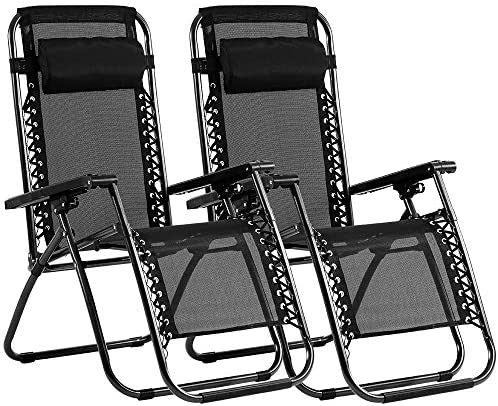 Zero Gravity Chair Patio Lounge Recliners Set of 2 Adjustable Lounge Outdoor Chair