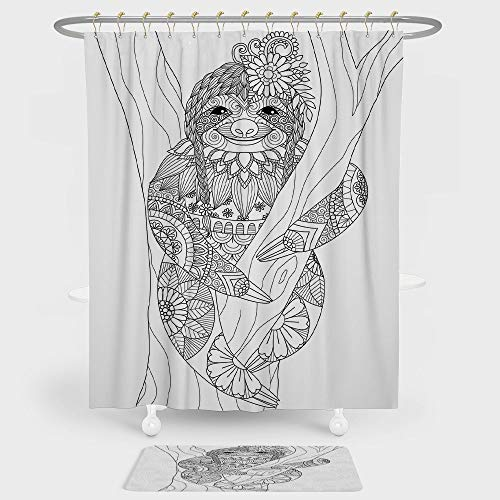 iPrint Sloth Shower Curtain And Floor Mat Combination Set Smiling Cute Animal on Tree with Various Floral Details Monochrome Artistic Wildlife Decorative For decoration and daily use Black ()