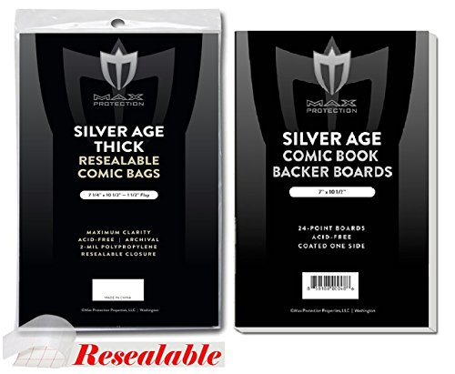 (100) Silver Age Thick Size RESEALABLE Ultra Clear Comic Book Bags and Boards - by Max Pro (Qty= 100 Bags and 100 Boards)