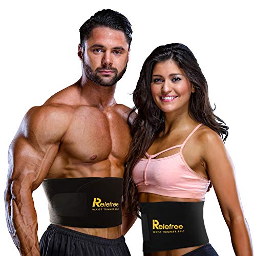 Relefree Waist Trimmer Belt, Adjustable Length Ab Belt, Slimming Burning Fat to Accelerate Sweating Sauna Effect, for Running, Yoga, Ftness, Gymnastics