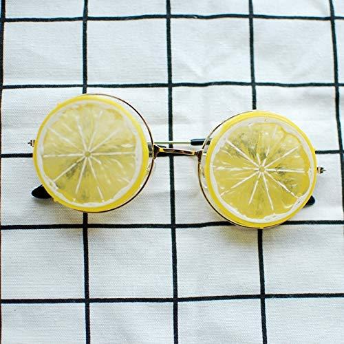Creative Men Women Glasses Orange Lemon Fruit Funny Glasses Photographed Props Resort Beach Students (Lemon Yellow