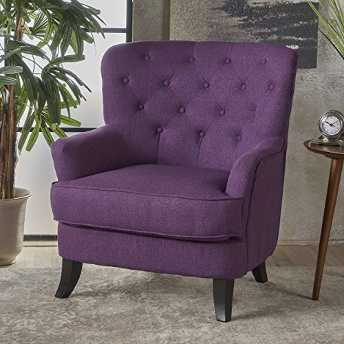 Christopher Knight Home Anika Arm Chair, Purple + Dark Brown