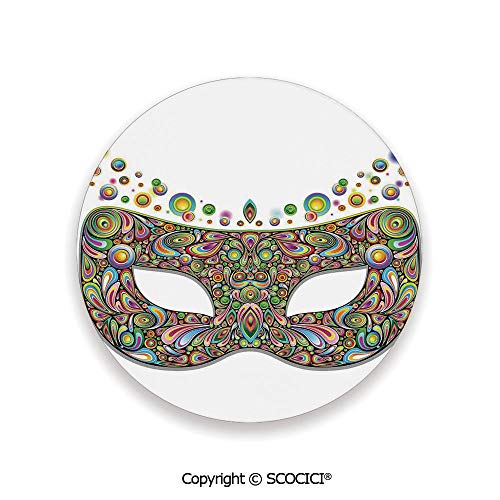 Ceramic coaster With wood Bottom Protection, For Mugs, Wine Glasses, Protects Furniture Round,Masquerade,Mask in Psychedelic Art Design Pop Makeup in,3.9