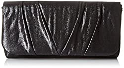 Jessica McClintock Sienna Flap Pleated Clutch Evening Bag, Black, One Size
