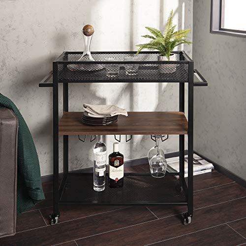 WE Furniture AZF36LEODW Portable Bar Cart, Dark Walnut (Bar Cart Black Metal)