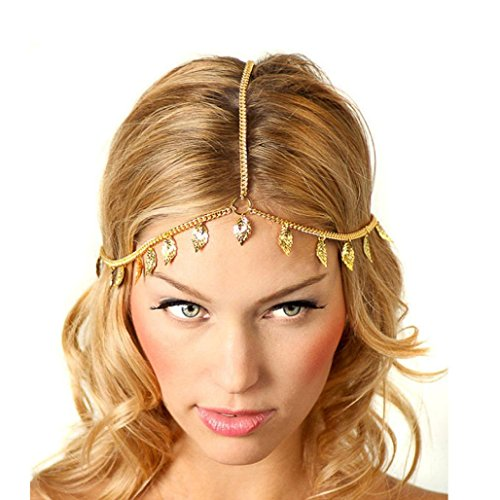 Baishitop Women Leaf Tassels Golden Head Chain (Cleopatra Headpiece Diy)