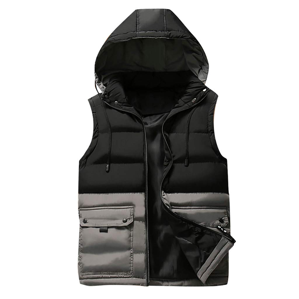 AHAYAKU Men's Autumn Winter Coat Padded Cotton Vest Warm Hooded Thick Vest Jacket Top 2019 Style Gray
