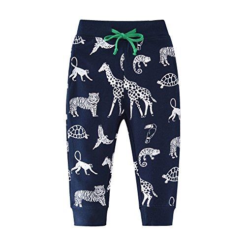 HUAER& Boys Cartoon Print Monkey Dinosaur Camouflage Pattern Cotton Pants Drawstring Elastic Sweatpants (7T(height120-130cm/46-50inch), Dark Blue & Small Animals) ()