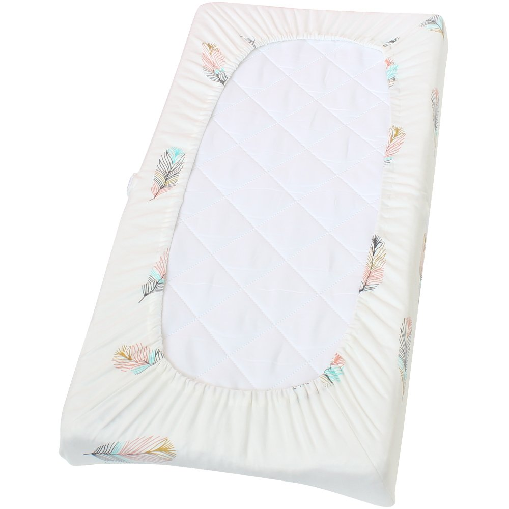 Premium Cotton Diaper Changing Pad Cover - Gender Neutral Feather Print Cotton Cradle Sheet Fits Standard Contoured Changing Table Pads Cover for Baby Boys or Girls By LifeTree OLLBAG BB2.22-Feather