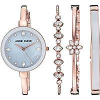 Anne Klein Women's AK3352 Swarovski Crystal Accented Bangle Watch and Bracelet Set (Rose Gold/Grey)