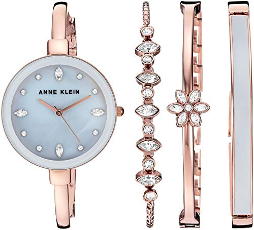 Anne Klein Women's AK/3352GYST Swarovski Crystal Accented Rose Gold-Tone Bangle Watch and Bangle Set ()