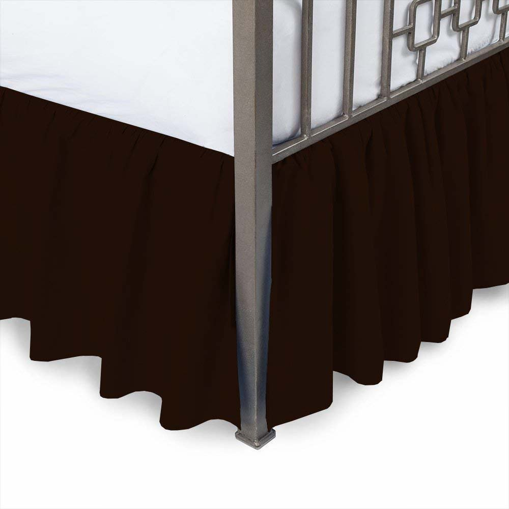 Ruffled Bed Skirt With Split Corners Style 3 Sided Coverage Navy Blue Color