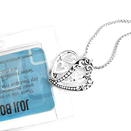 Antiqued Silver Filigree Double Heart: Lanyard Necklace with ID/Badge/Card Holder (+Bonus Pouch)