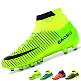 LANSEYAOJI Mens Football Boots High Top Spikes Soccer Shoes Boys Training Shoes Outdoor Football Shoes Sneakers Kids Junior Rugby Boots,Green,5 UK